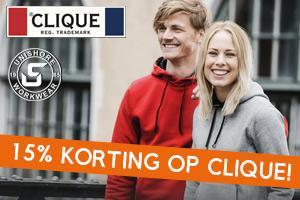 ACTIE: nu 15% korting op Clique kleding en tassen!