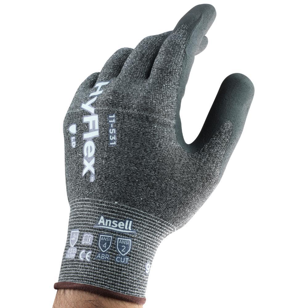 12Pr Ansell Hyflex 11-531 Handschoenen (Grijs) 11/XXL