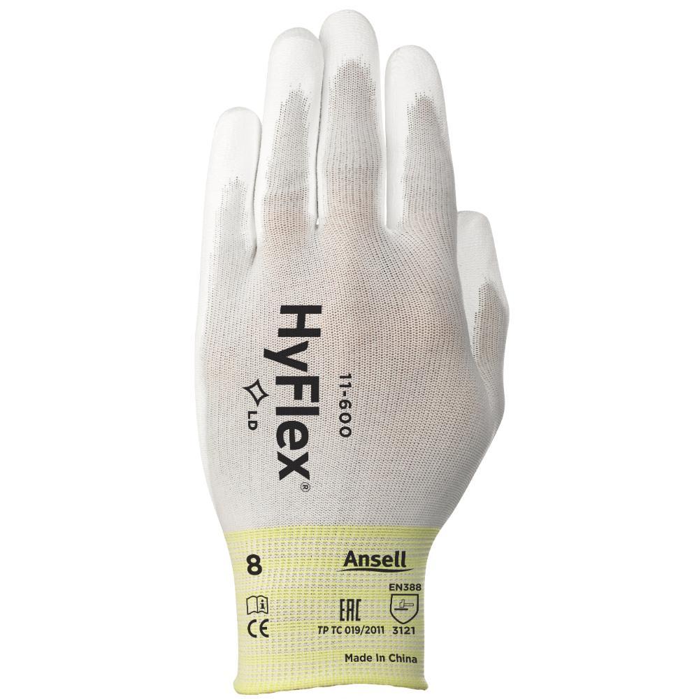 12Pr Ansell Hyflex 11-600 Handschoenen (Wit) 7/S