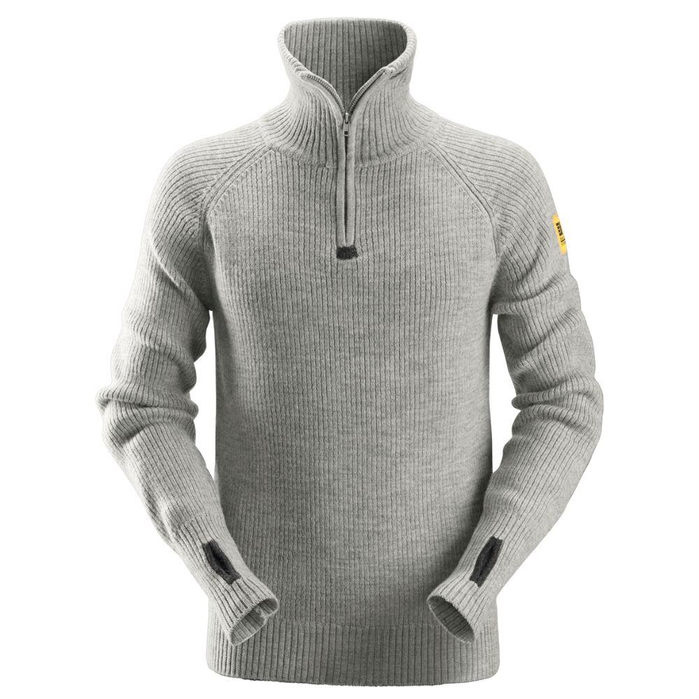 Snickers Wool Half Zip Sweater (Grijsmelange) XXL