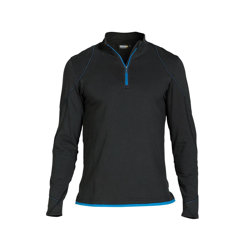 DASSY Sonic T-shirt Lange Mouwen S (Zwart/Azuurblauw)