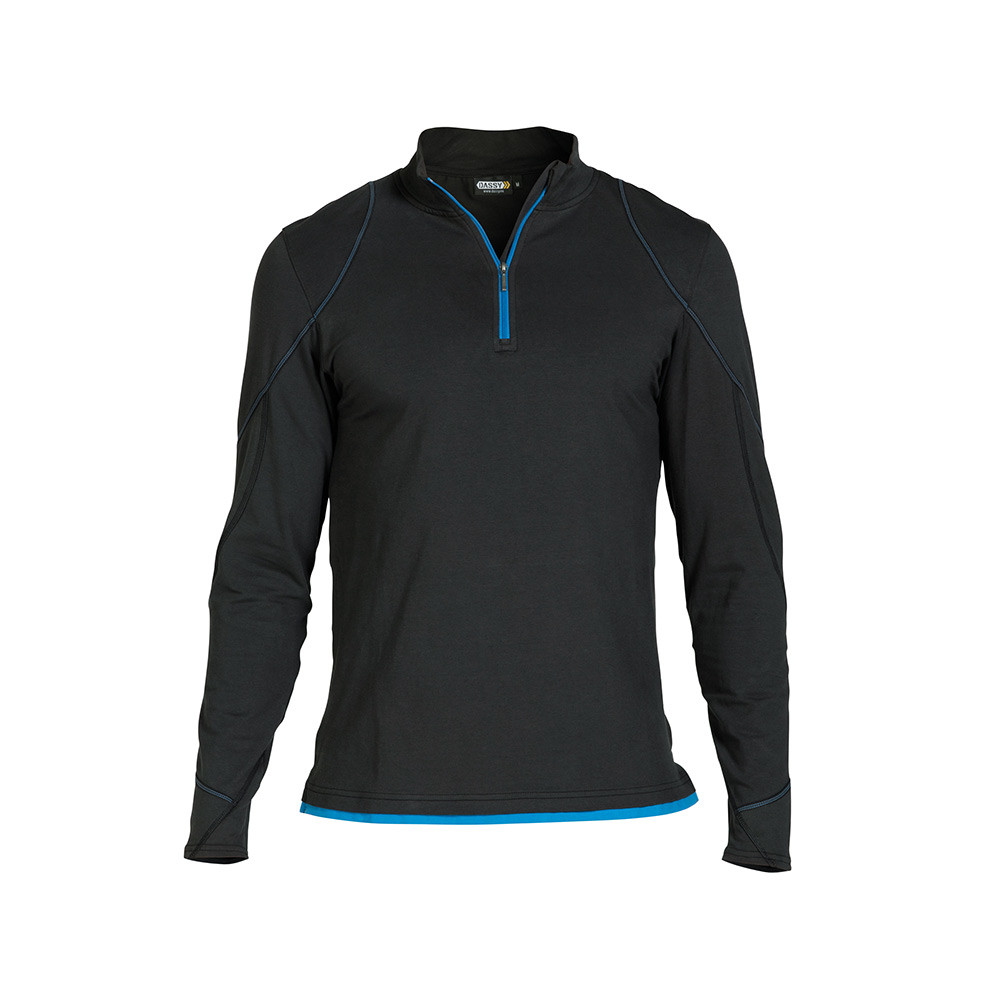 DASSY Sonic T-shirt Lange Mouwen M (Zwart/Azuurblauw)