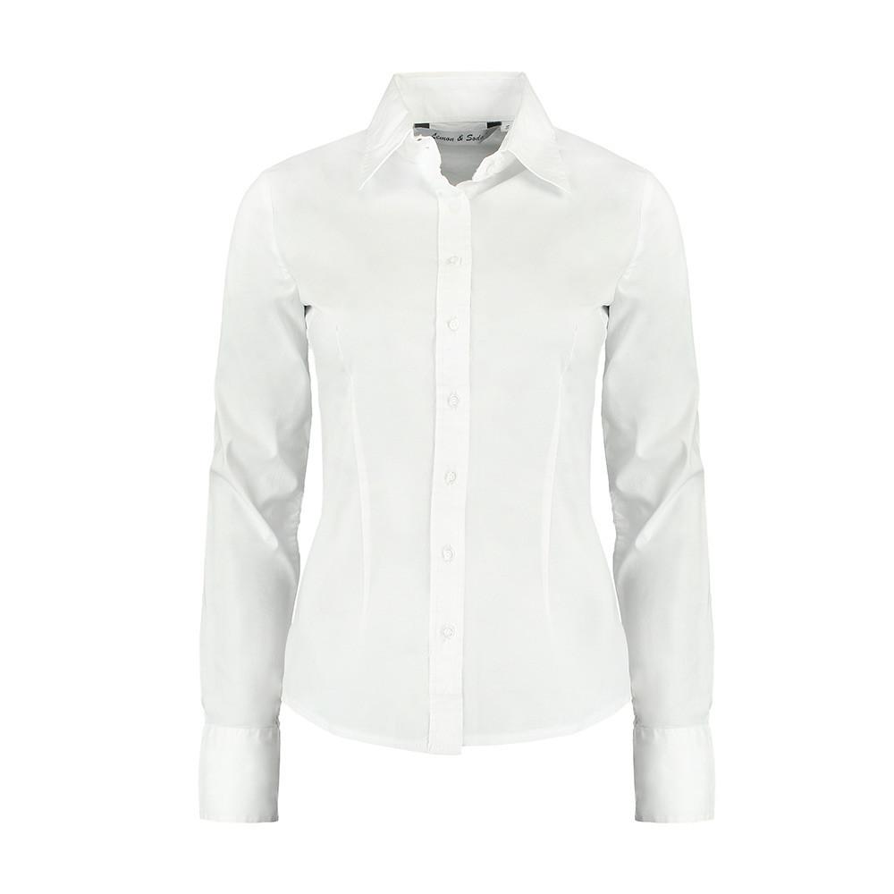 L&S Shirt Poplin Lange mouw Dames (Wit) XL