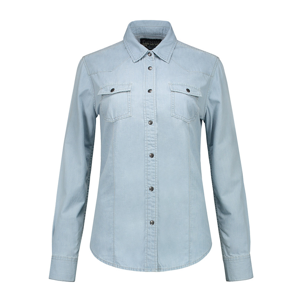 L&S Denim Shirt Dames (Lichtblauwe denim) XL