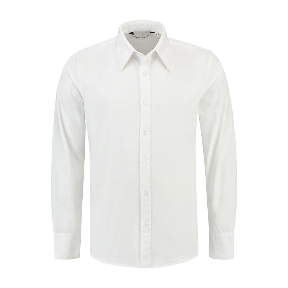 L&S Shirt Poplin Lange mouw Heren (Wit) S