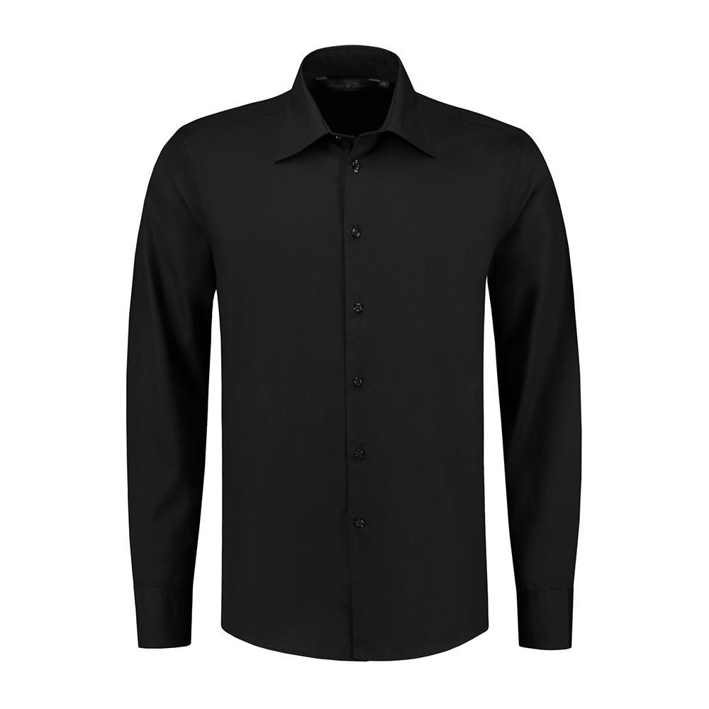 L&S Shirt Poplin Mix Lange mouw Heren (Zwart) L