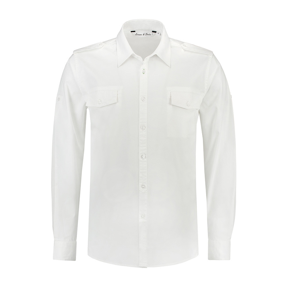 L&S Shirt Twill Lange mouw Heren (Wit) XL