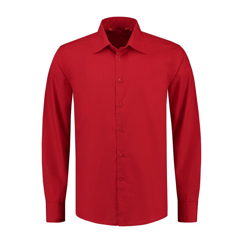L&S Shirt Poplin Mix Lange mouw Heren (Rood) XL