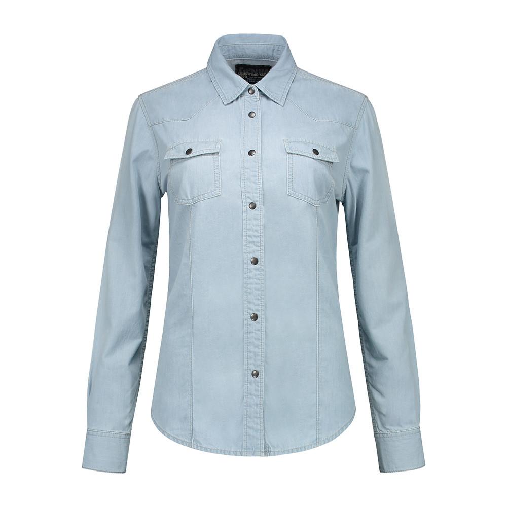 L&S Denim Shirt Dames (Lichtblauwe denim) M