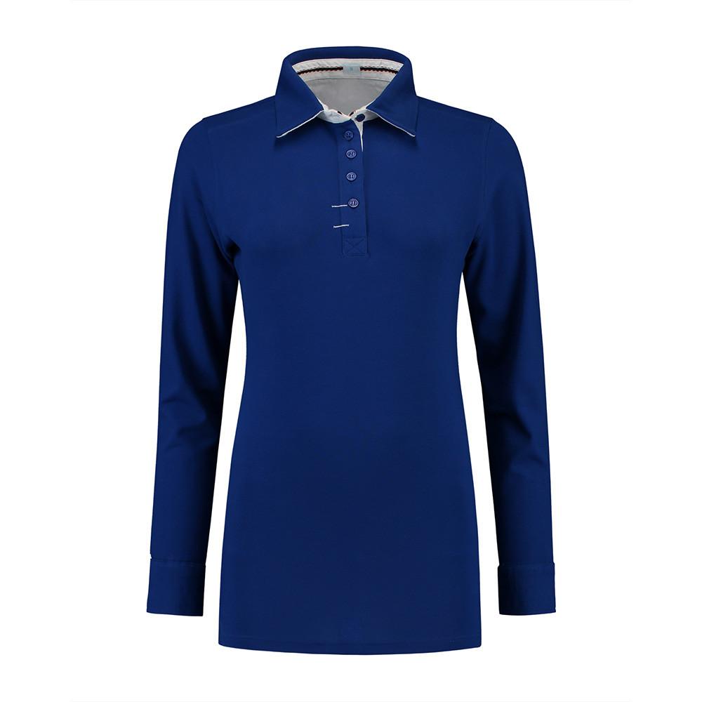 L&S Polo Contrast Lange mouw Dames (Koningsblauw/Wit) L