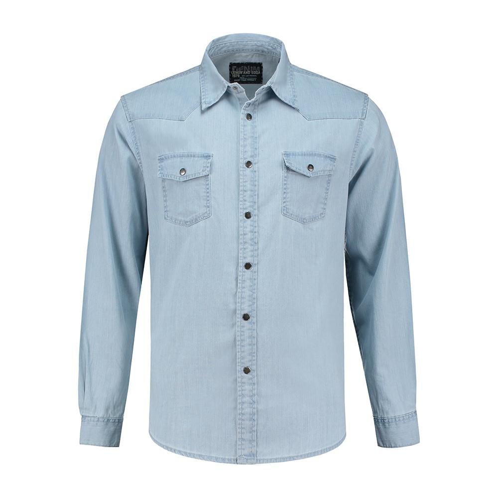 L&S Denim Shirt Heren (Lichtblauwe denim) L