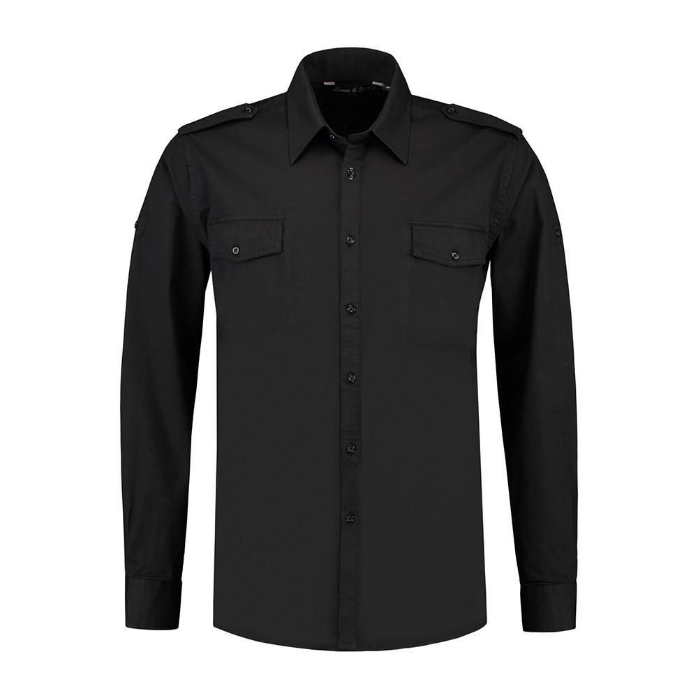 L&S Shirt Twill Lange mouw Heren (Zwart) XL