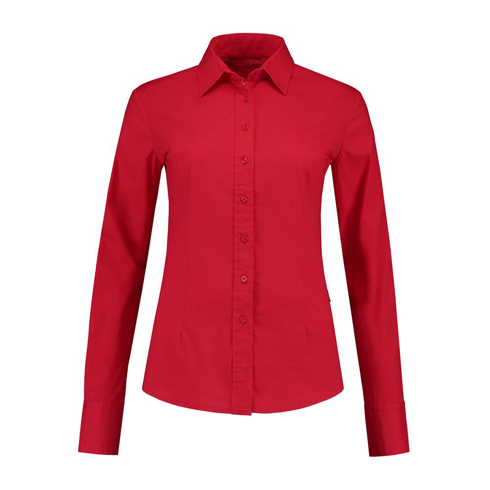 L&S Shirt Poplin Lange mouw Dames (Rood) XL
