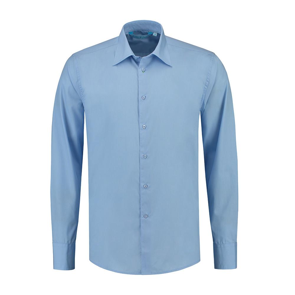 L&S Shirt Poplin Mix Lange mouw Heren (Lichtblauw) 4XL