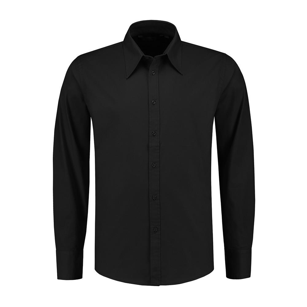 L&S Shirt Poplin Lange mouw Heren (Zwart) 3XL
