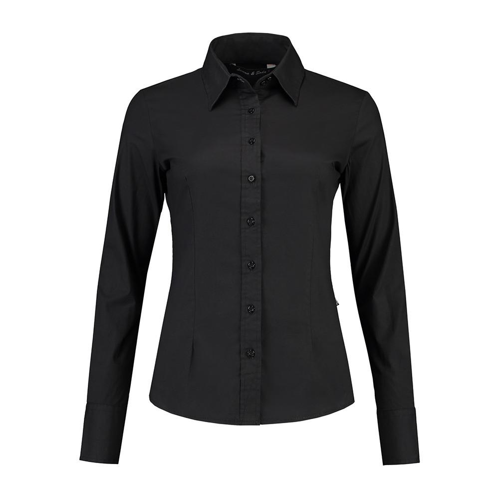 L&S Shirt Poplin Lange mouw Dames (Zwart) XL