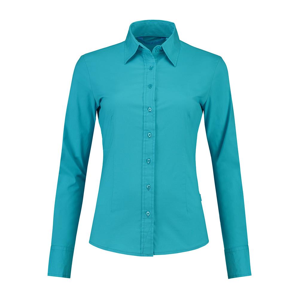 L&S Shirt Poplin Lange mouw Dames (Turkoois) S