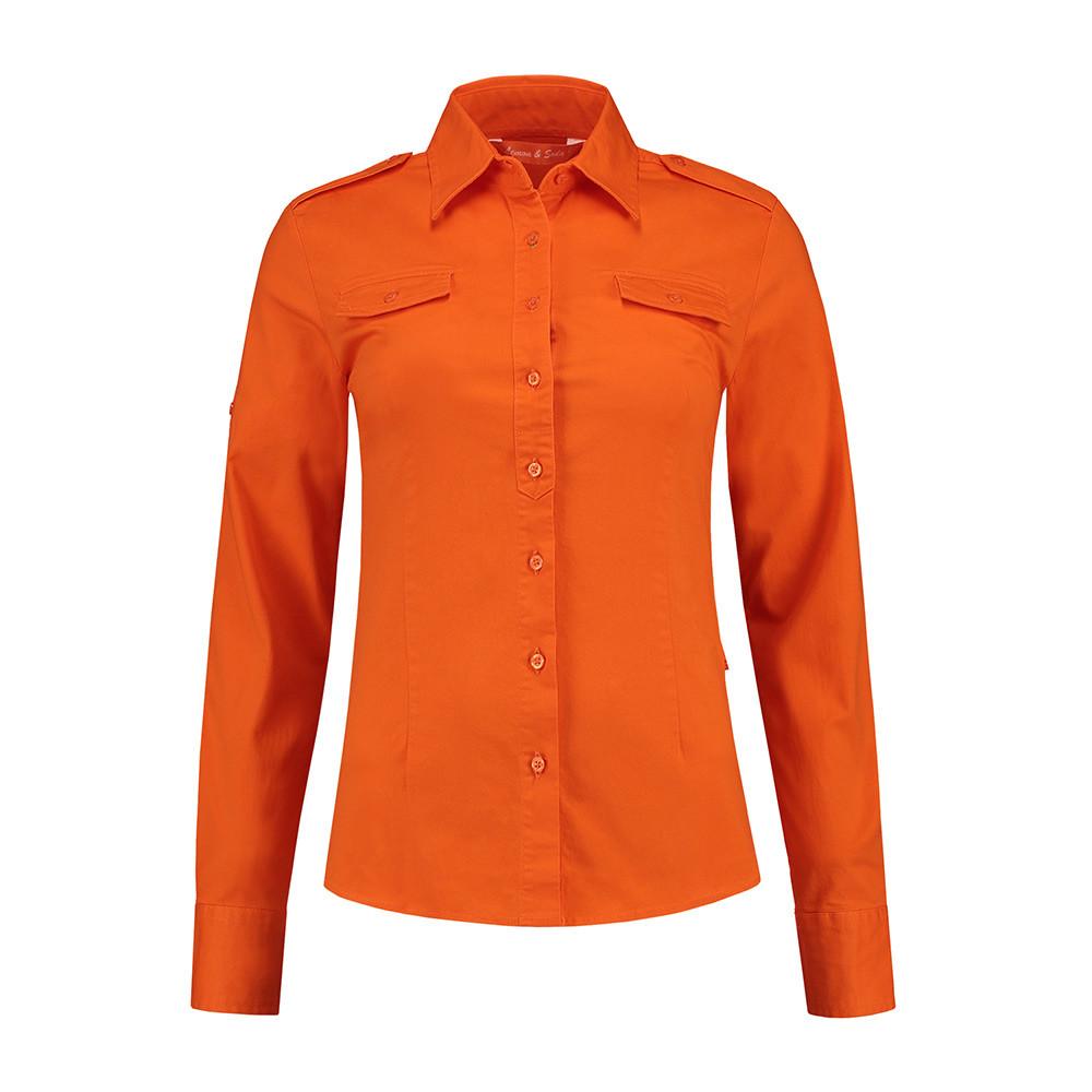 L&S Shirt Twill Lange mouw Dames (Oranje) M