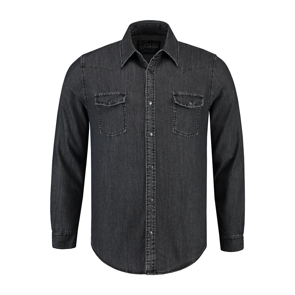L&S Denim Shirt Heren (Donkerblauw denim) XXL