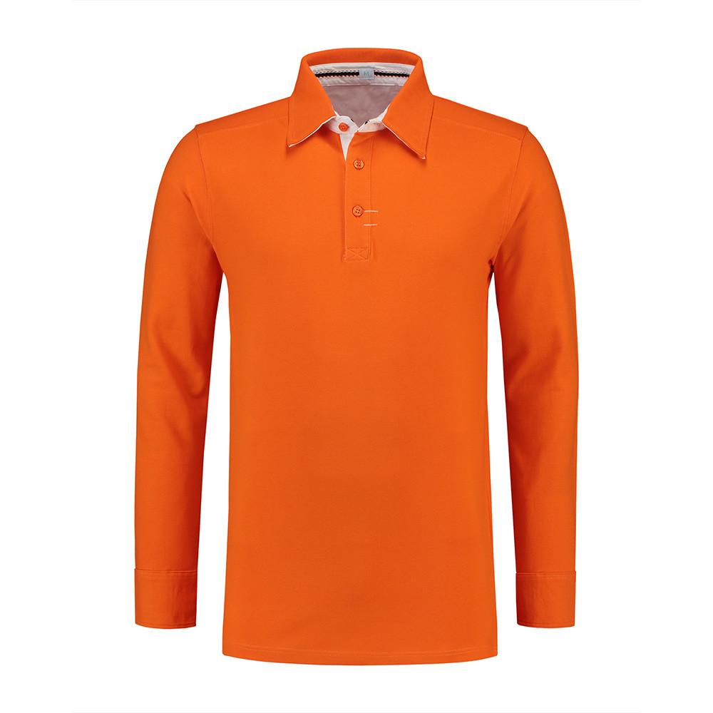L&S Polo Contrast Lange mouw Heren (Oranje/Wit) XL