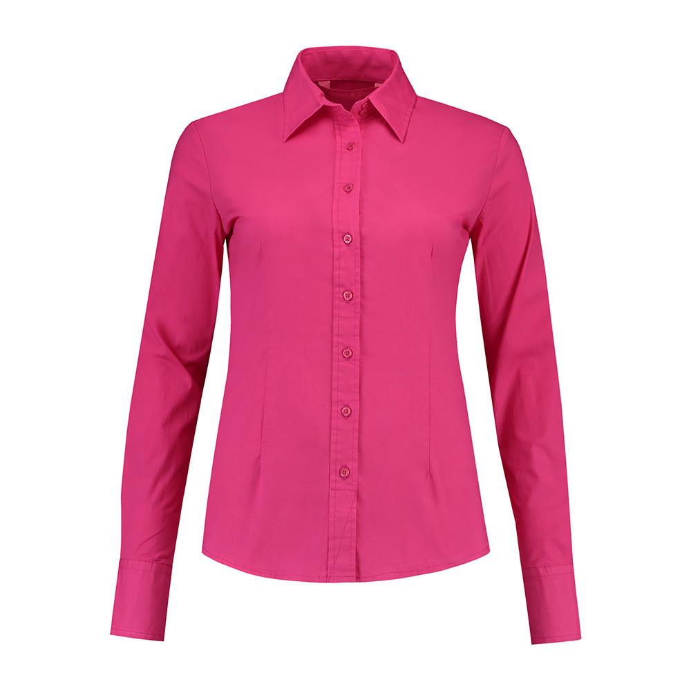 L&S Shirt Poplin Lange mouw Dames (fuchsia) XXL
