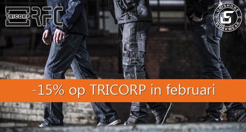 In februari krijgt u 15% korting op de gehele collectie van Tricorp (m.u.v. Premium)